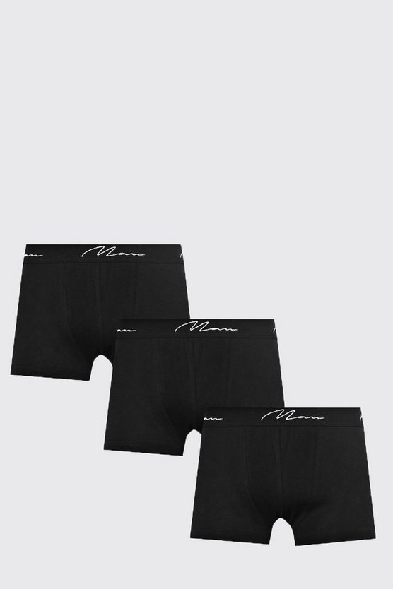 Mens 3 Pack Basic Man Trunks In Black