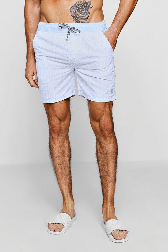 Mens Light blue Triangle Print Swim Short