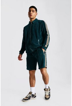 Teal Man Towel Zip Through Short Tape Tracksuit