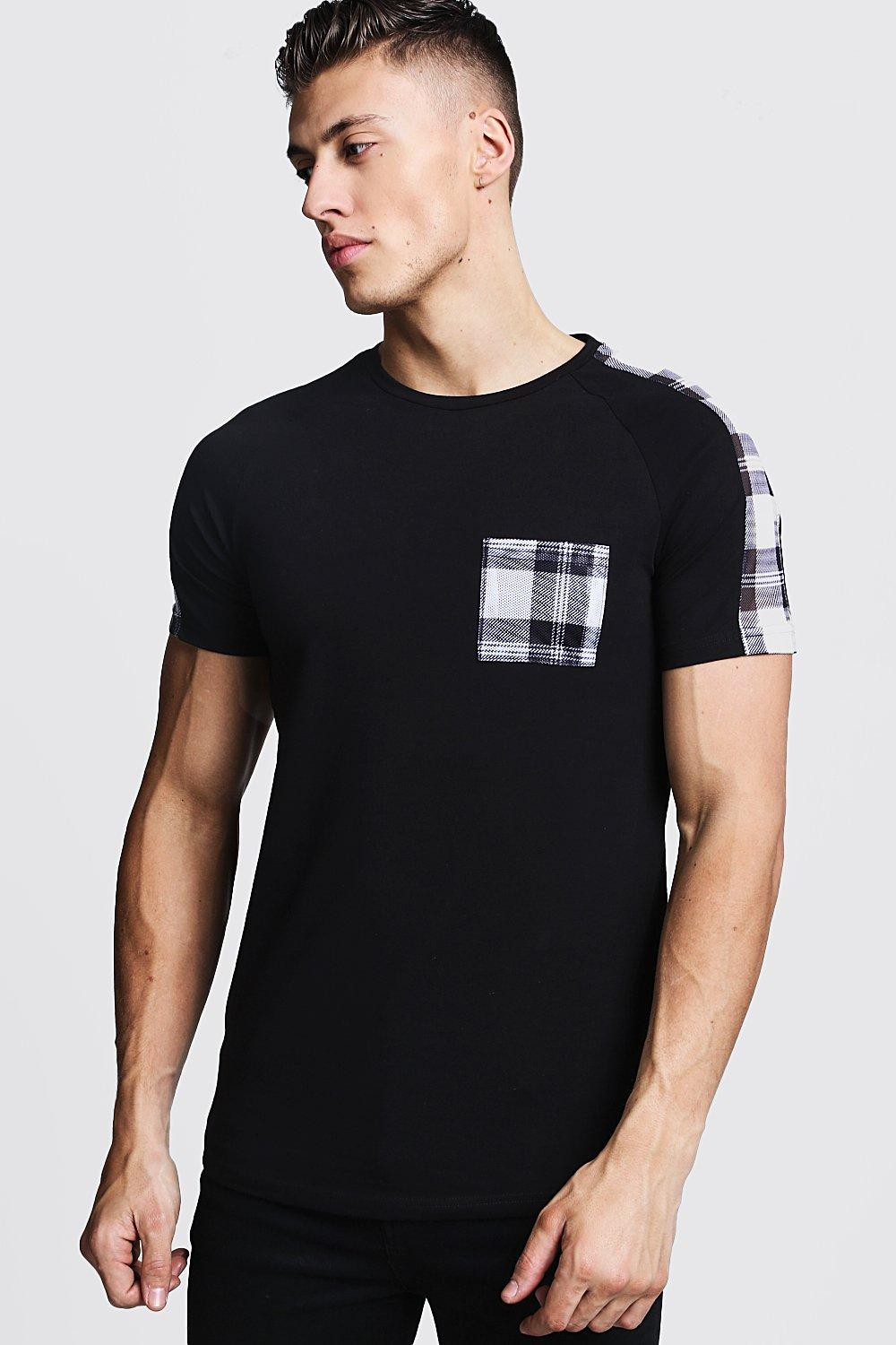 superior materials original custom Check Panel Muscle Fit T-Shirt With Curve Hem - boohooMAN