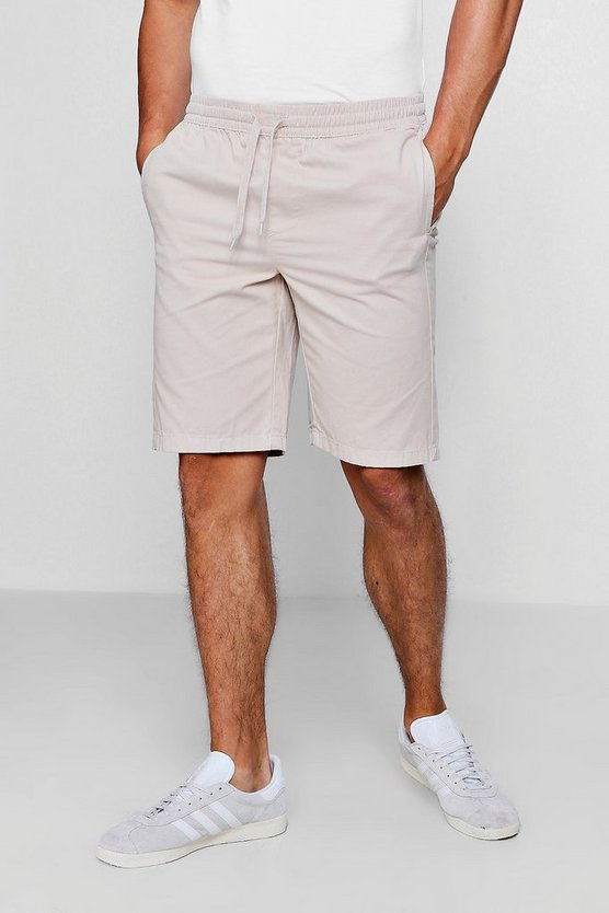 Mens Stone Stone Chino Short With Elasticated Waistband