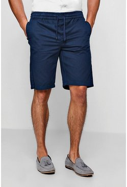 Mens Navy Chino Short With Elasticated Waistband