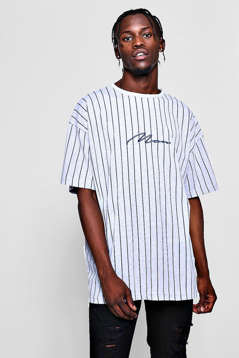 092ed683 Oversized MAN Signature Stripe T-Shirt - boohooMAN