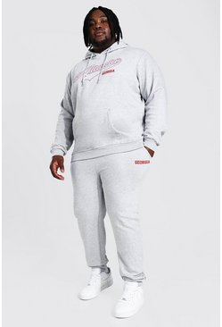 Plus Size Atlanta Varsity Hooded Tracksuit, Grey marl
