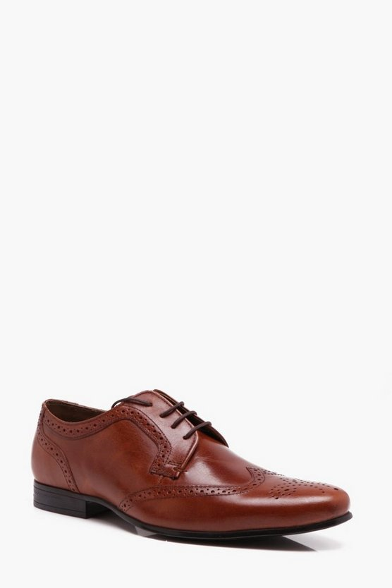 Mens Tan Real Leather Wingcap brogue