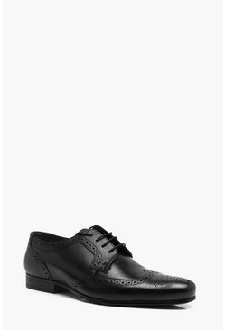 Mens Black Real Leather Wingcap Brogue