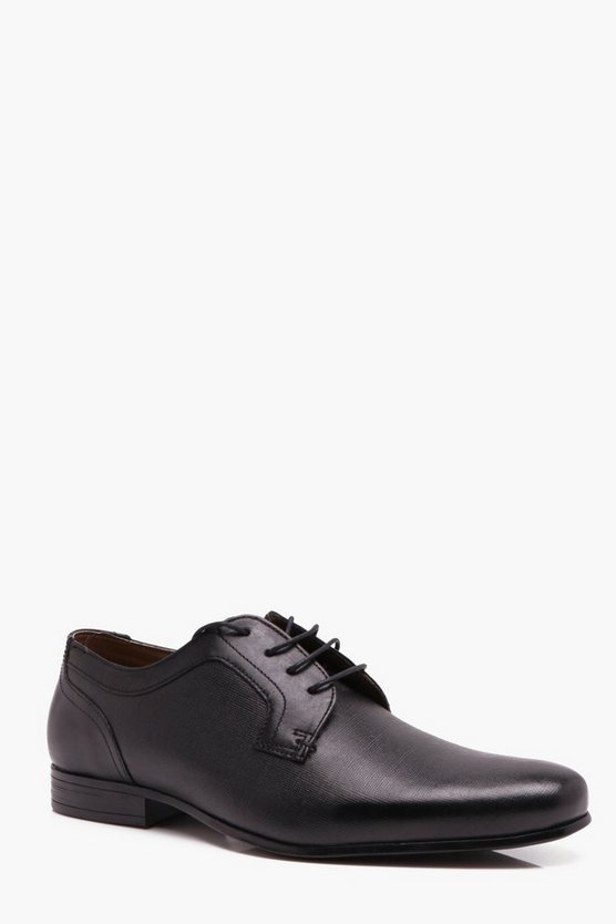 Mens Black Real Leather Cross Hatch Emboss Formal Shoe
