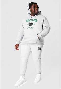 Plus Size Boston Varsity Hooded Tracksuit, Grey marl