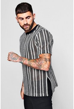 Mens Black Open Knit Striped T-Shirt