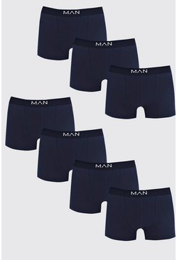 Mens 7 Pack Navy Basic MAN Trunks