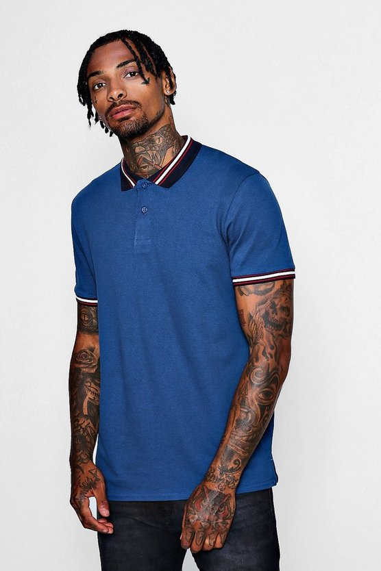 Mens Navy Polo Plique With Taping