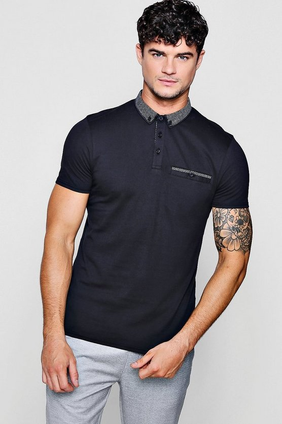 Mens Black Jersey Polo With Woven Collar