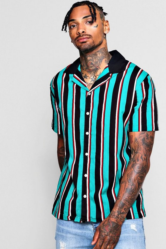 Green Vertical Stripe Revere Short Sleeve Shirt