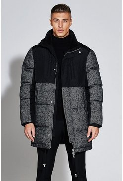 Mens Black Premium Wool Mix Herringbone Parka Jacket