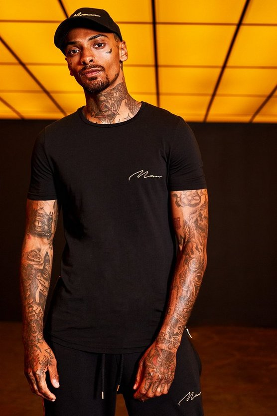 Mens Black Gold MAN Embroidered Longline T-Shirt With Zips
