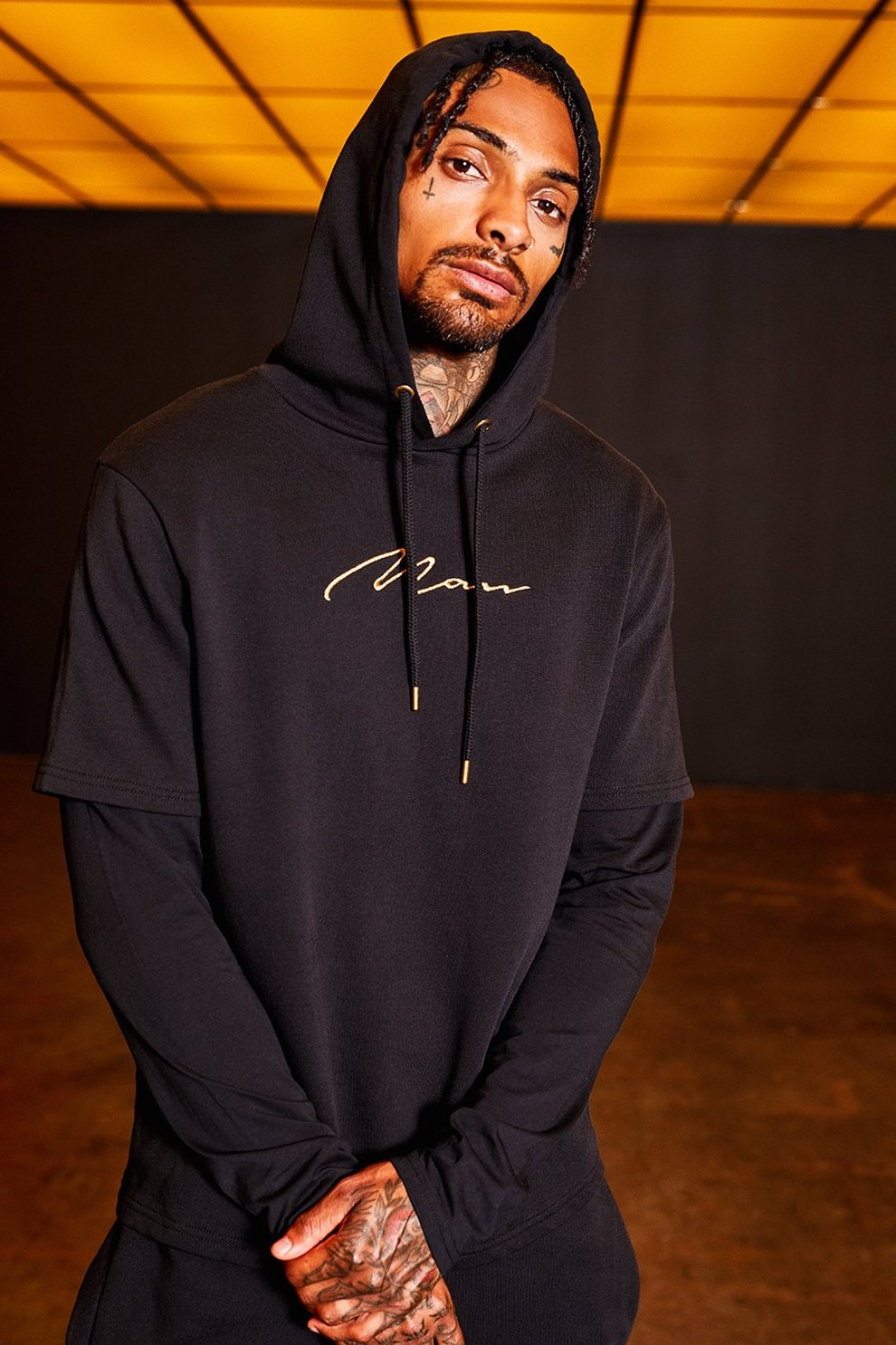 0be98f0205 Gold MAN Embroidered Faux Layered Hoodie - boohooMAN