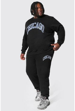Black Plus Size Chicago Varsity Sweater Tracksuit