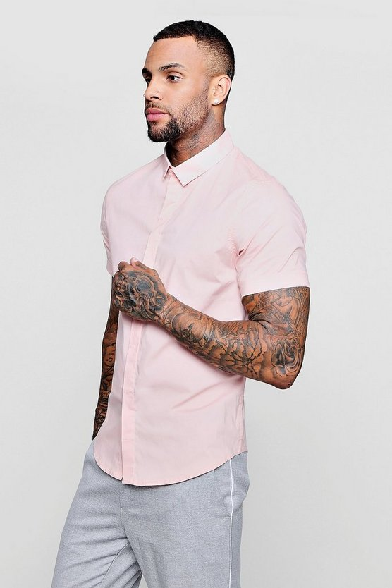 Pale pink Short Sleeve Cotton Stretch Muscle Fit Shirt