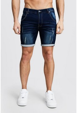 Mens Dark blue Skinny Fit Jersey Denim Shorts With Selvedge