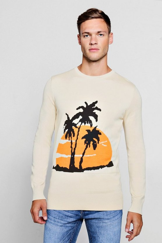 Cream Palm Intarsia Knitted Jumper