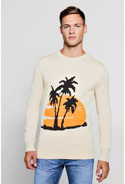Mens Cream Palm Intarsia Knitted Sweater