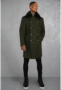 Mens Khaki Faux Fur Collar Military Style Overcoat