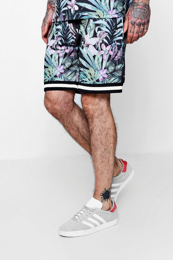 Mens Black Floral All Over Print Mid Length Short
