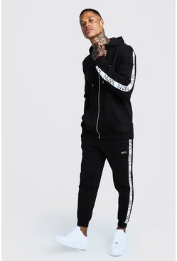 Mens Black Original MAN Embroidered Tracksuit With Tape