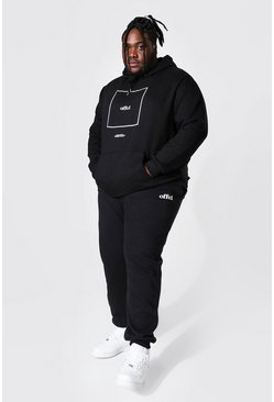 Plus Size Offcl Box Print Hooded Tracksuit, Black