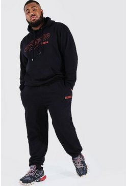 Plus Size Atlanta Varsity Hooded Tracksuit, Black