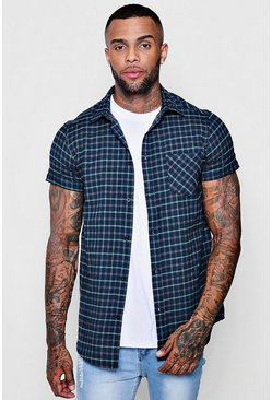 Mens Green Check Short Sleeve Shirt