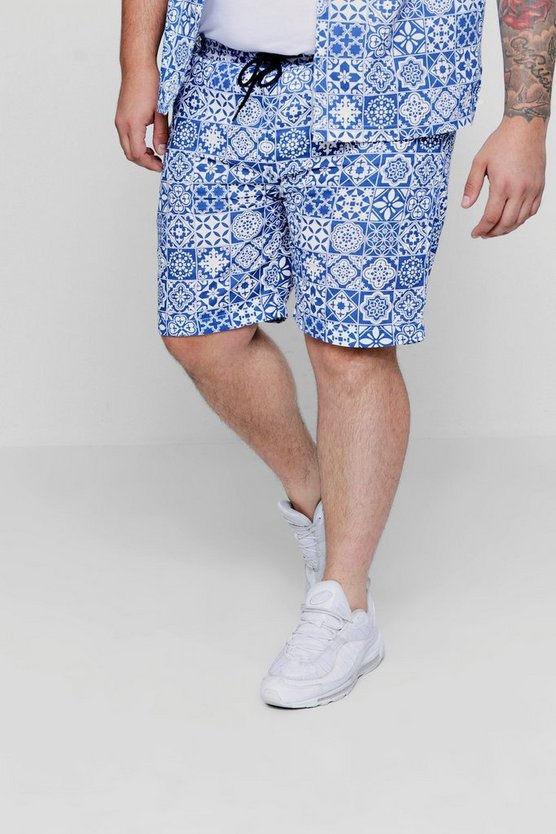 Blue Big And Tall Drawstring Short
