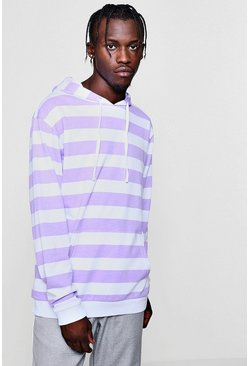 Mens Lilac Over The Head Stripe Hoodie