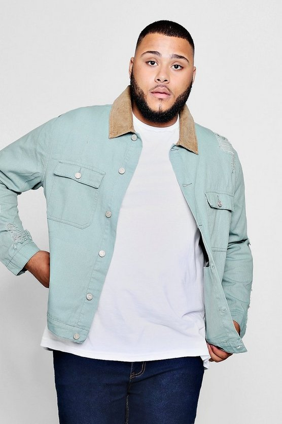 Abyss green Big and Tall Distressed Denim Jacket