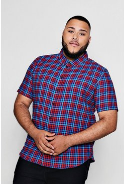 Mens Red Big And Tall Checked Gingham Short Sleeve Shirt
