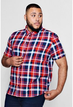 Mens Red Big And Tall Classic Check Short Sleeve Shirt