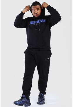 Plus Size Brooklyn Varsity Hooded Tracksuit, Black