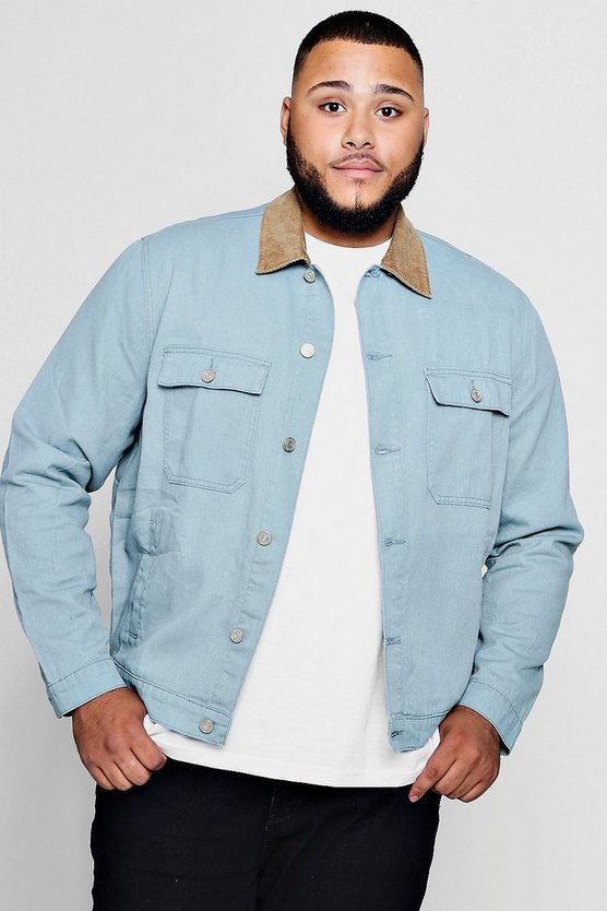 Mens Abyss green Big And Tall Cord Collar Denim Jacket