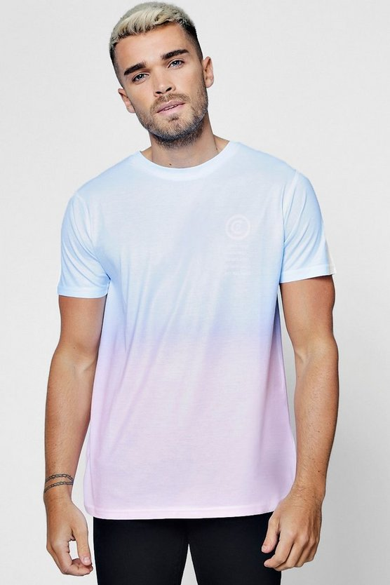 Blue Faded Ombre Pocket Print T-Shirt