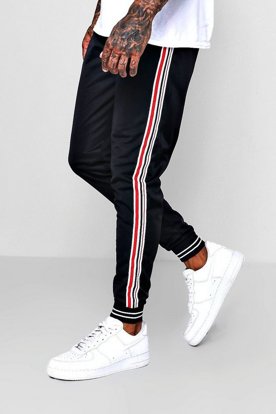 Mens Black Side Stripe Cuffed Jersey Jogger