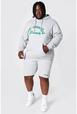 Grey marl Plus Size Stay Mindful Short Tracksuit