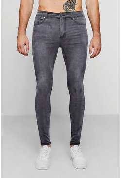 Mens Spray On Skinny Jeans In Charcoal