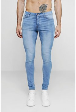 Mens Spray On Skinny Jeans In Washed Blue