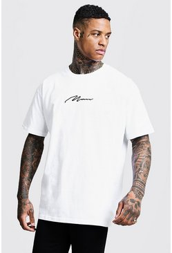 Mens White Oversized MAN Signature Embroidered T-Shirt