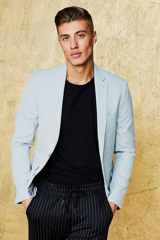 Grey Single Breasted Skinny Fit Textured Blazer