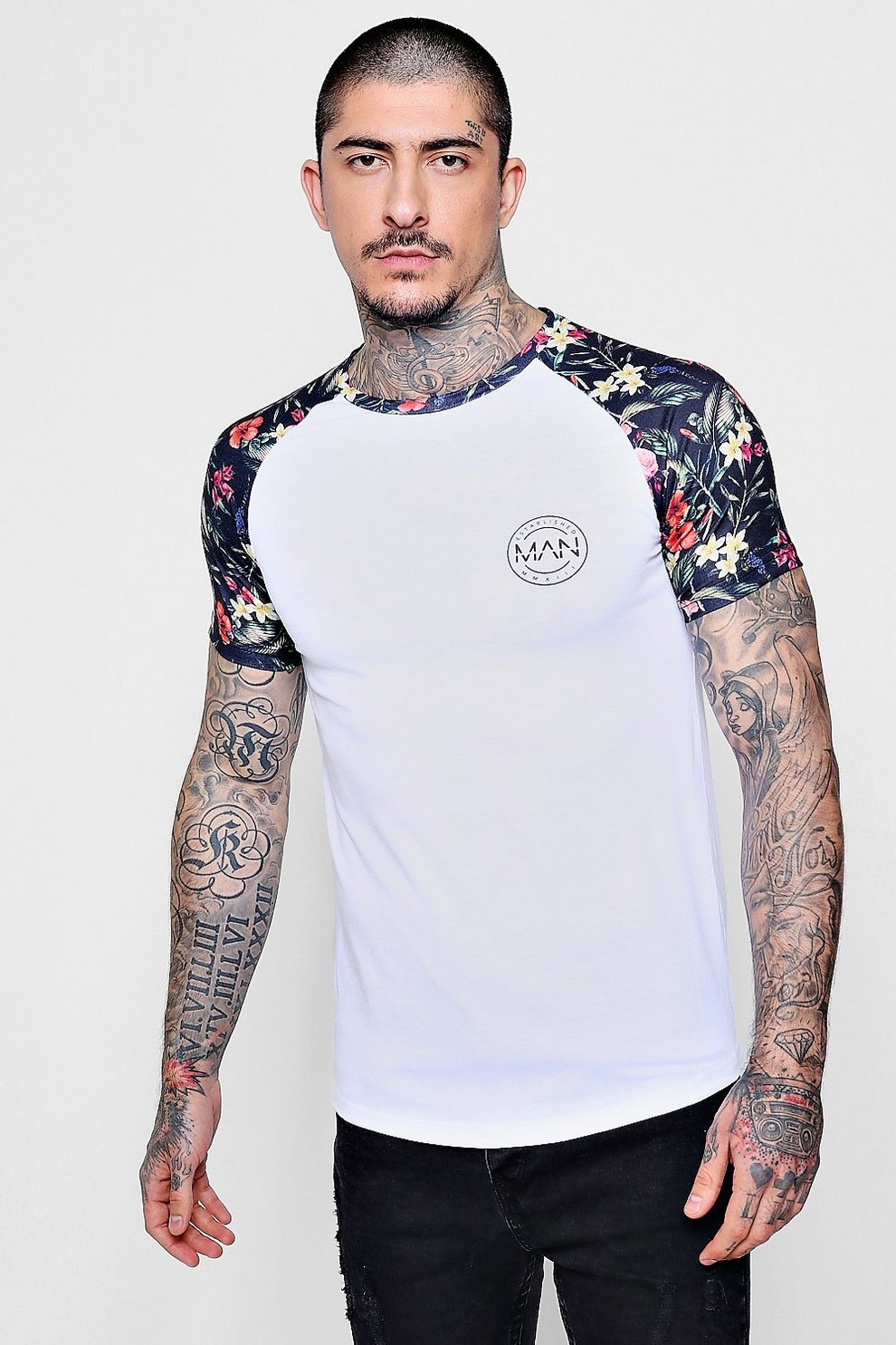 dea5cdff MAN Logo Floral Sublimation Muscle Fit T-Shirt - boohooMAN