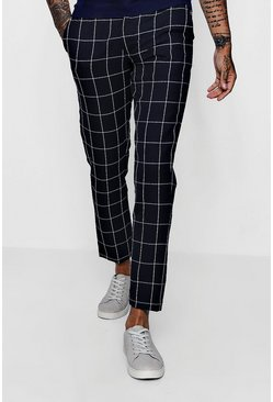 Mens Tapered Fit Trouser In Navy Windowpane Check