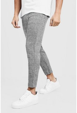 Mens Tapered Fit Trouser In Grey Windowpane Check