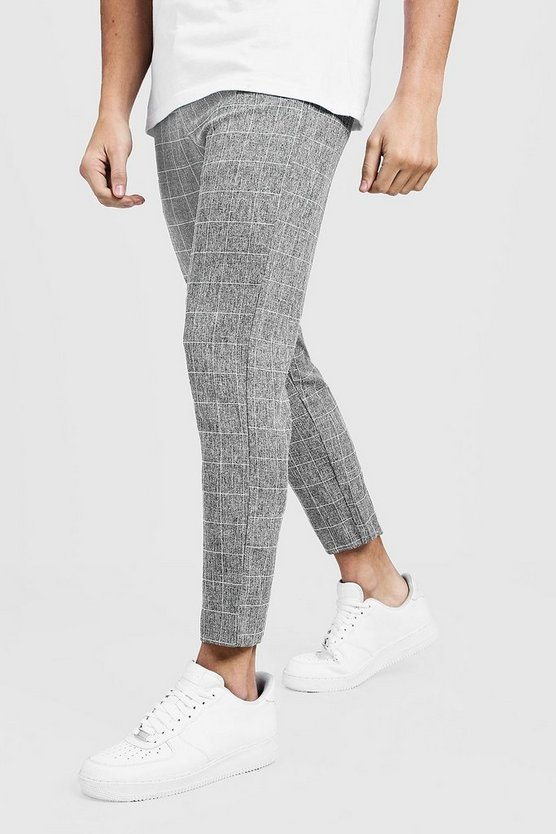Mens Grey Tapered Fit Pants In Grey Windowpane Check