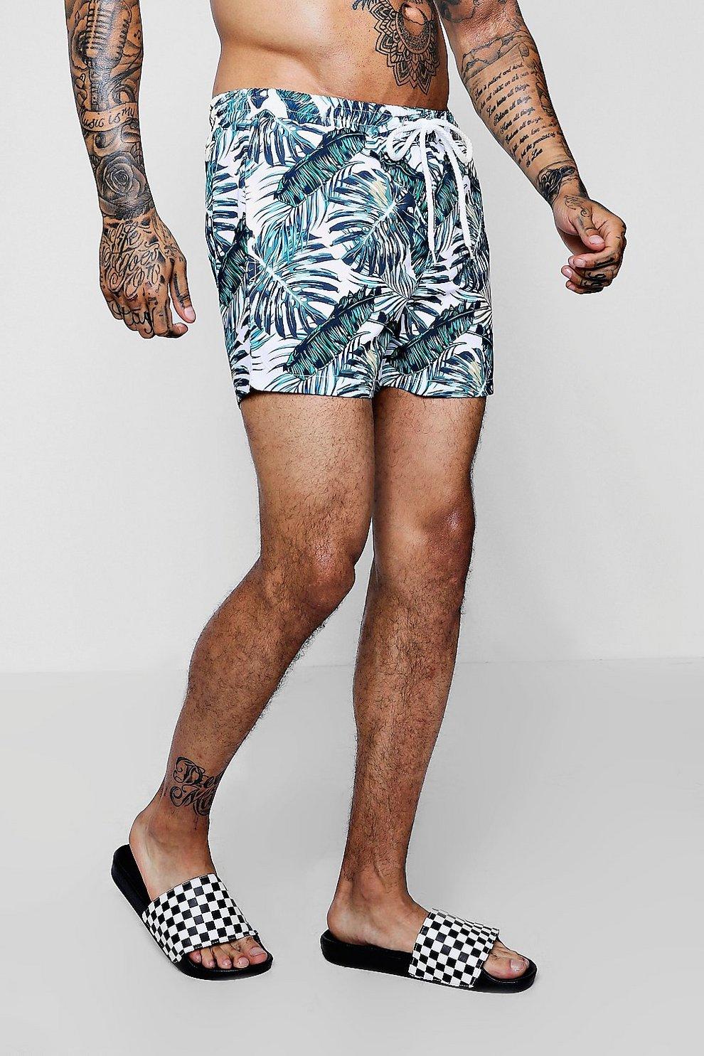55c38ecaeec Palm Print Mid Length Swim Shorts - boohooMAN